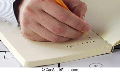 plan, cahier, architecte, écriture main