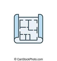 plan, coloré, plan, vecteur, concept, ou, emmagasiner icône