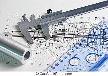 plan, compas, mécanique