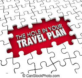 plan, disparu, ton, trou, voyage, réservation, vol, itiner, trouée, hôtel