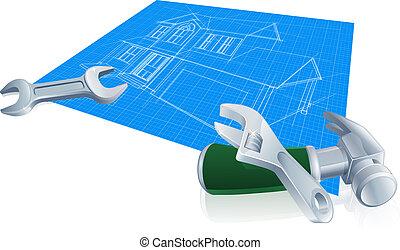 plan, emmagasiner construction, concept