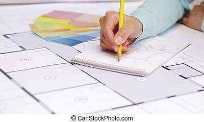 plan, femme, dessin, cahier