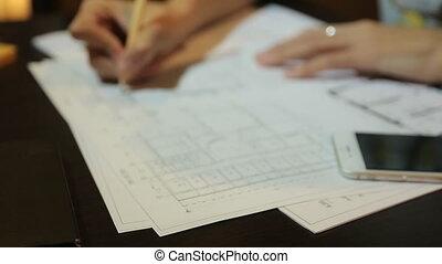 plan, femme, work., fonctionnement, premises., dispositions, architecte, dessins, feuilles, femmes