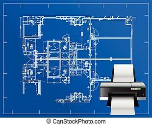 plan, imprimante, illustration