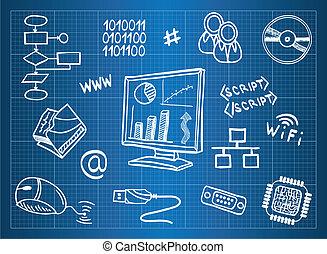 plan, information, matériel, informatique, symboles, technologie