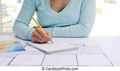 plan, intérieur, femme, dessin, cahier