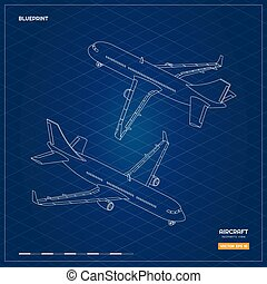 plan, isométrique, industriel, contour, civil, dos, avion, ou, avion., avion, infographic, devant, impression, vue., style., contour, icône