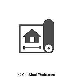 plan, maison, concept, architectural, icône