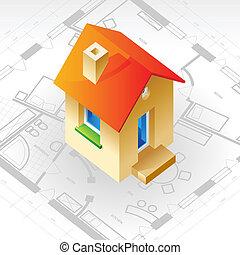 plan, maison, concept