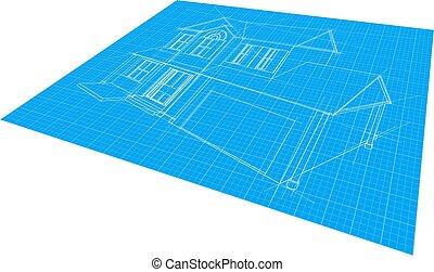 plan, maison, dessin