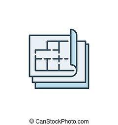 plan, maison, ou, coloré, plan, vecteur, icône, concept