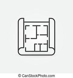 plan, maison, plan, vecteur, linéaire, icône, concept