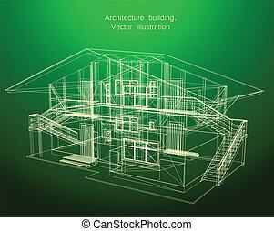 plan, maison, vert, architecture