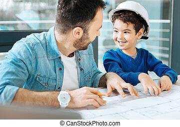 plan, mignon, dessiner, sien, garçon, père, portion