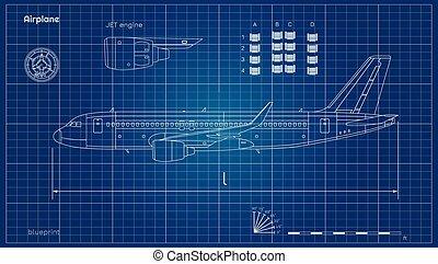 plan, moteur, industriel, contour, jet, civil, plane., bleu, style., avion., avion, fond, drawing., vue côté