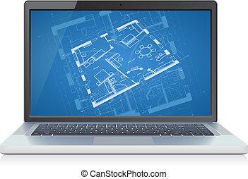 plan, ordinateur portable