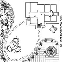 plan, paysage, vecteur
