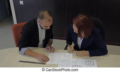 plan, professionnels, fonctionnement, maison, schemes., ensemble, femme, mâle