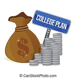 plan, signe, sacs argent, collège