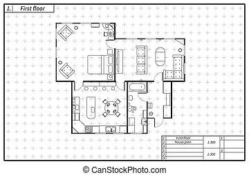 plan, style, maison, noir, architecture, blanc, plan