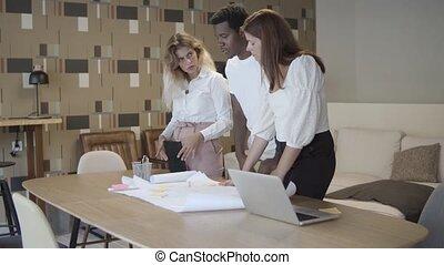 plan, table, équipe, réunion affaires