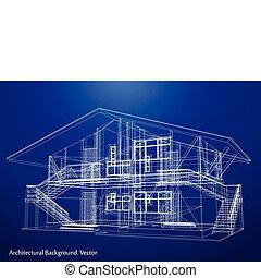 plan, vecteur, house., architecture
