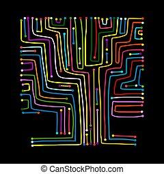 planche, arbre, circuit, conception, forme, informatique