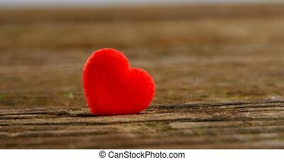 planche bois, 4k, coeur, pli, rouges