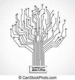 planche, circuit, formé, arbre
