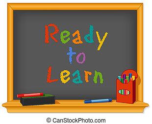 planche, prêt, craie, apprendre