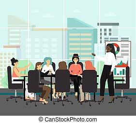 planche, presentation., vecteur, noir, présidente, cadre, tout, réunion, ceo., femme, femme, concefence, business, illustration., concept, directeurs
