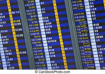planche, résumé, image., vol, arrivée, aéroport