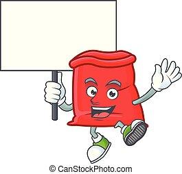 planche, sac, santa, ouvert, rouges, apporter, dessin animé