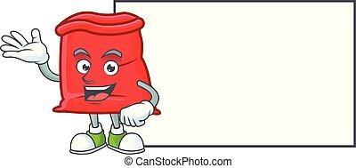 planche, sac, santa, ouvert, rouges, dessin animé
