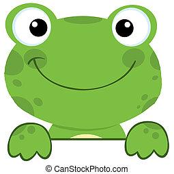 planche, signe, sur, grenouille, sourire