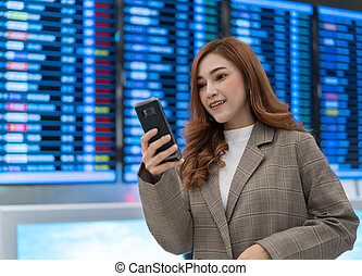 planche, smartphone, aéroport, vol, femme, utilisation, information