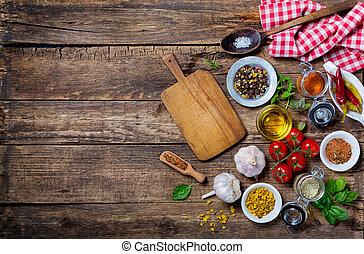 planche, table, ingrédients, cuisine, bois, vieux, vide, découpage