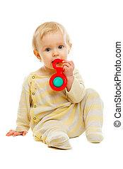 plancher, hochet, isolé, bébé, blanc, agréable, jouer