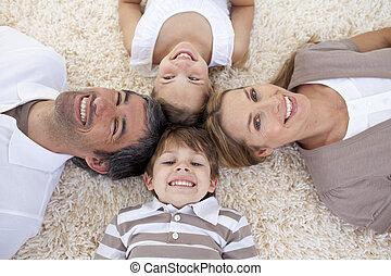 plancher, mensonge, têtes ensemble, famille