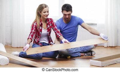 plancher, paquet, couple, bois, sortir
