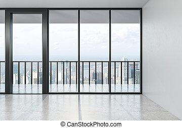 plancher, vue, spacieux, salle, béton, moderne, afternoon., vide, fenêtre, grande ville