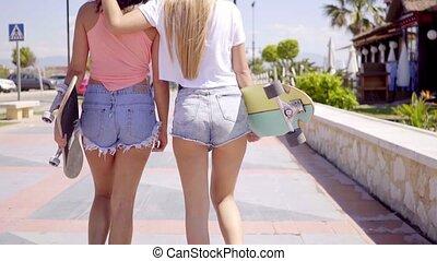 planches roulettes, côté, filles, dos, deux