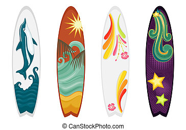 planches surf, ensemble, quatre