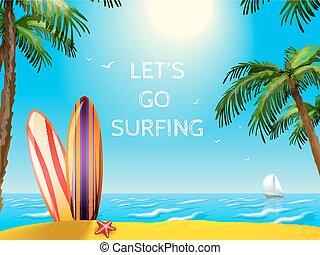 planches surf, voyage, fond, affiche, été