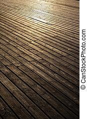 planches, tôt, bois, lumière, matin