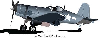 plane., combat., vieux, militaire, air