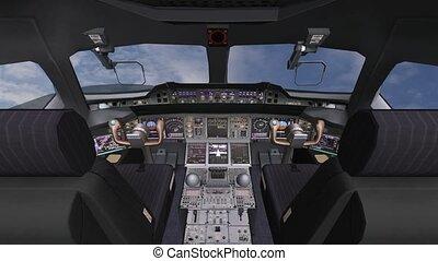 plane., technologie pointe, pilotes, tableau bord, avion, opération, poste pilotage