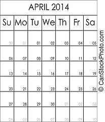 planificateur, costumizable, grand, eps, avril, fichier, 2014, calendrier