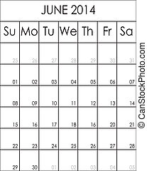 planificateur, costumizable, grand, juin, eps, fichier, 2014, calendrier