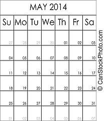 planificateur, costumizable, mai, grand, eps, fichier, 2014, calendrier